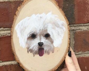 Custom Pet Portrait on Wood Slice