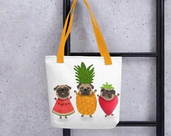 Pug Tote bag, fun fruity pugs bag, original artwork