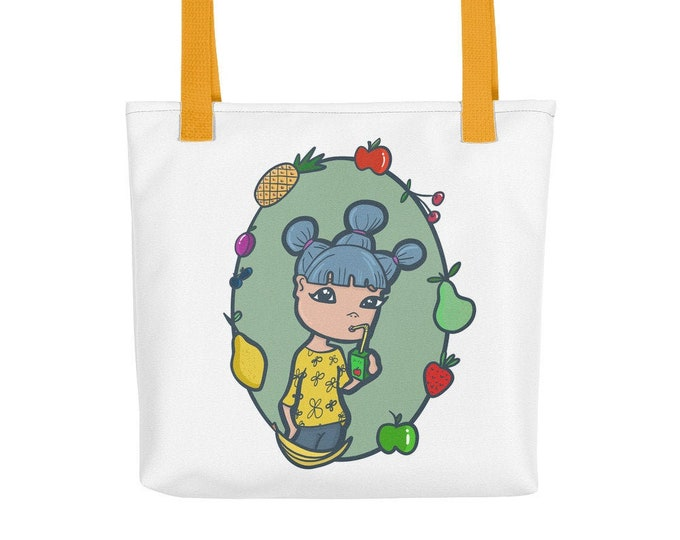 Beach Tote bag, fruit graphic, original artwork