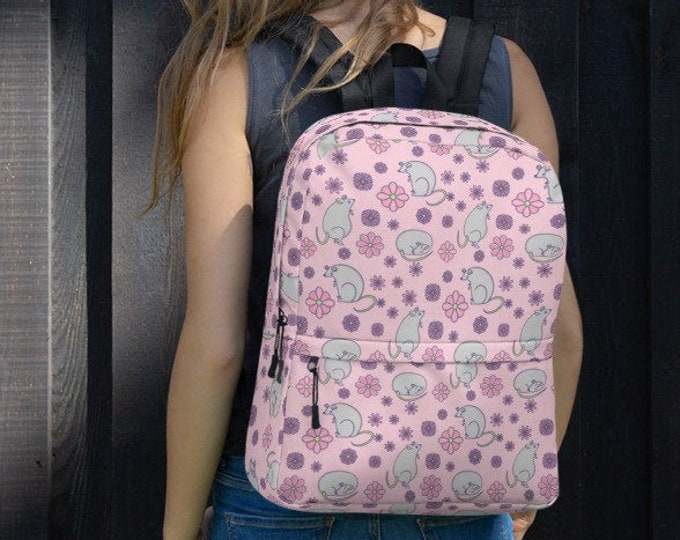 Pink Backpack, with mouse and flower pattern, original artwork