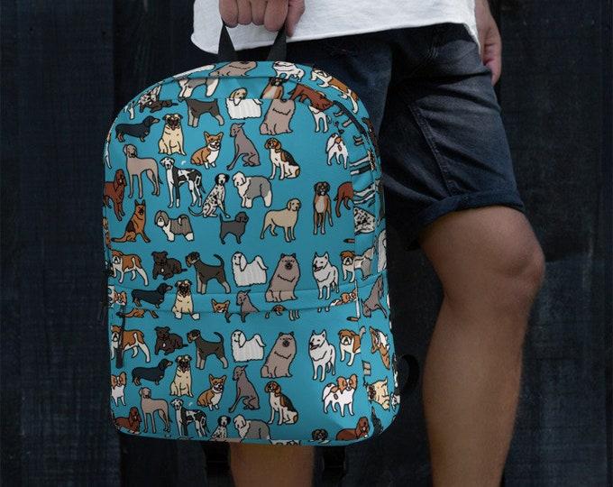 Blue Backpack, with dog breed pattern, original artwork