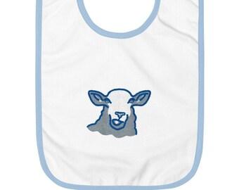 Sheep Embroidered Baby Bib, original artwork