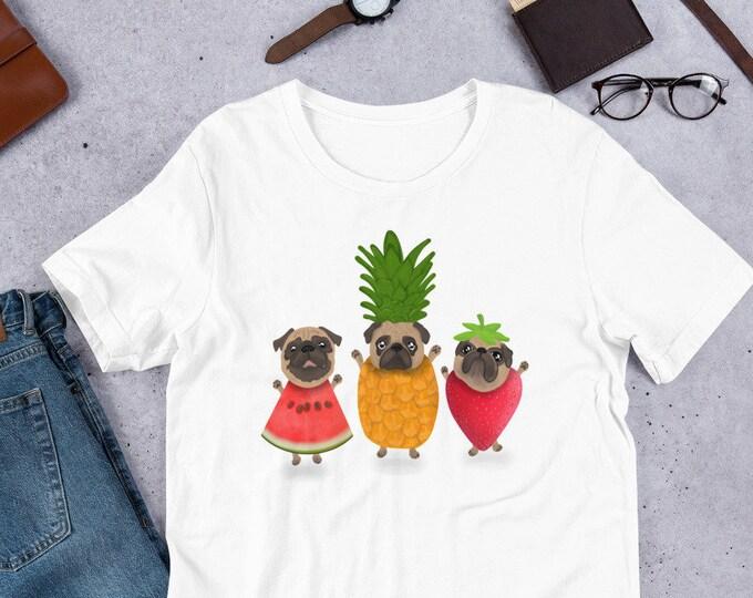 Pug T-Shirt, pug fruit party, original artwork