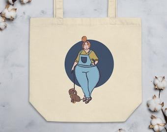 Dog Tote Bag, eco bag with lady walking her dog, original artwork