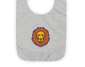 Lion Embroidered Baby Bib, original artwork