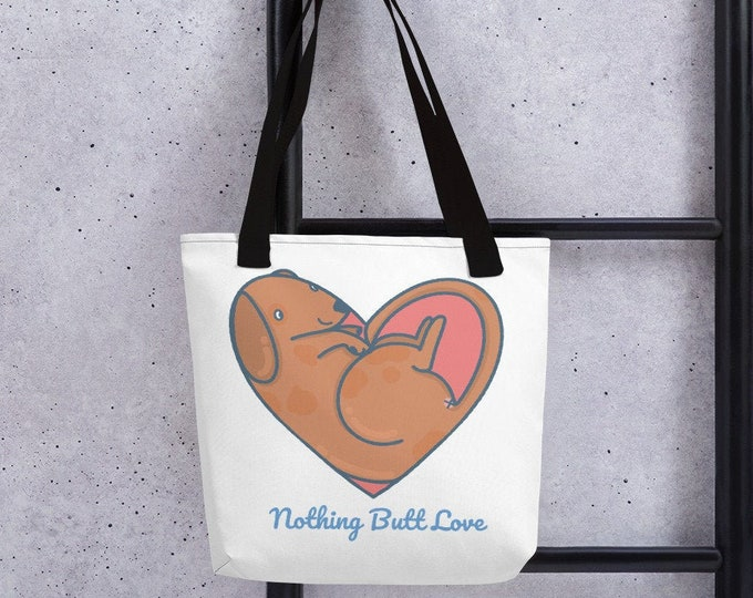 Tote bag, nothing Butt love, dog heart, original artwork