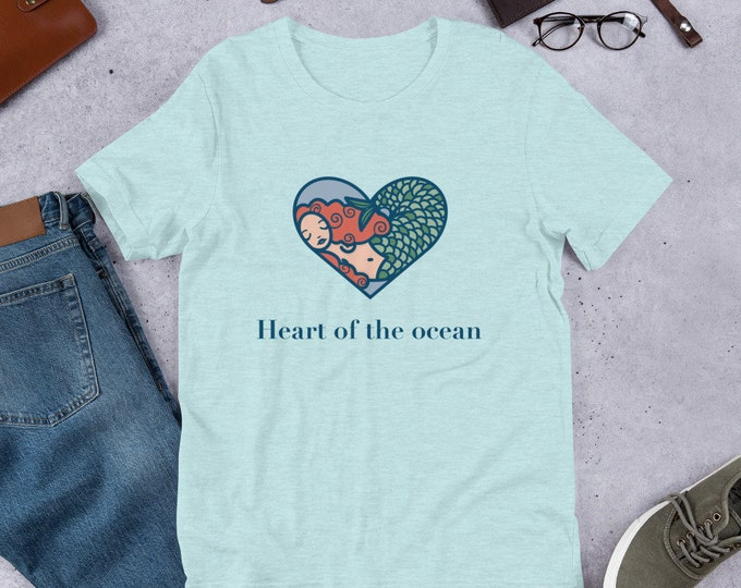 Mermaid t-shirt, unisex tee, heart of the ocean, original artwork