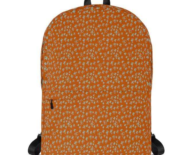 Rust orange Backpack, with floral pattern, original artwork