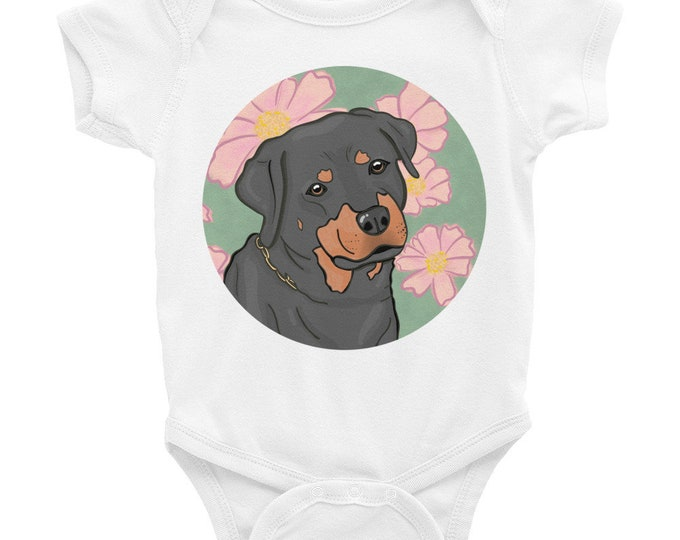 Rottweiler baby bodysuit, floral background, original art
