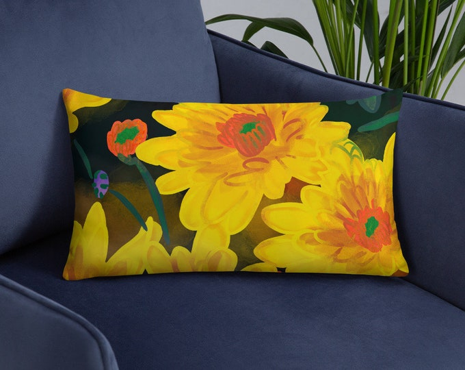 chrysanthemum Pillow, floral print, original artwork