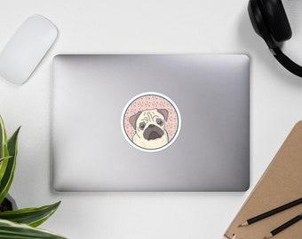 Pug sticker, bubble free, original artwork