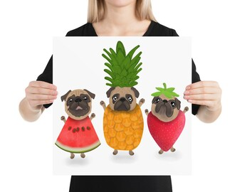 Pug Poster, fruit summer pug party, original artwork