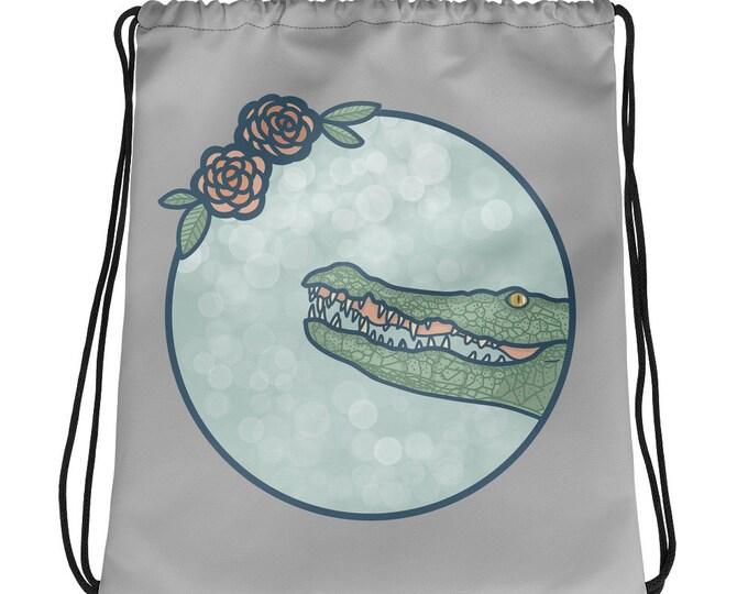 Crocodile bag, gray drawstring bag with flowers, original artwork