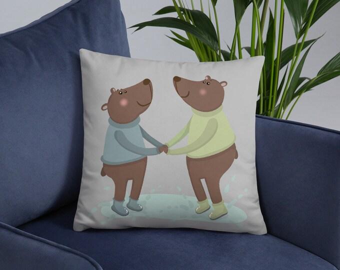 Bear Pillow, Bears jumping, original artwork