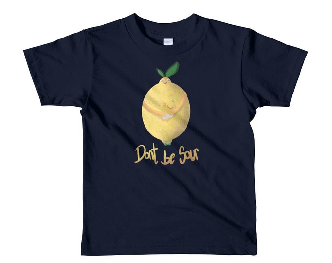 Lemon kids t-shirt, dont be sour, original artwork