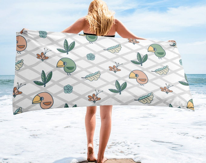Beach Towel, birds and flowers, original artwork