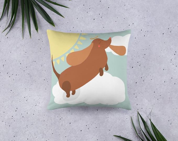 Wienerdog Pillow, kidsroom, nursery decor, original artwork