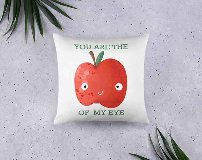 Apple Pillow, Apple of my eye, kidsroom pillow, original artwork