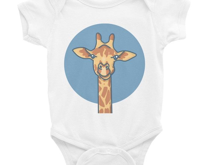 Giraffe bodysuit, blue dot, original artwork