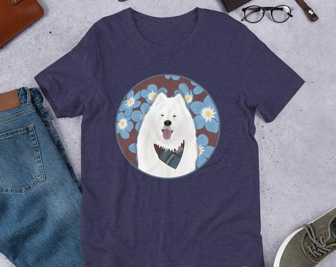 Samoyed T-Shirt, dog with floral background, original artwork