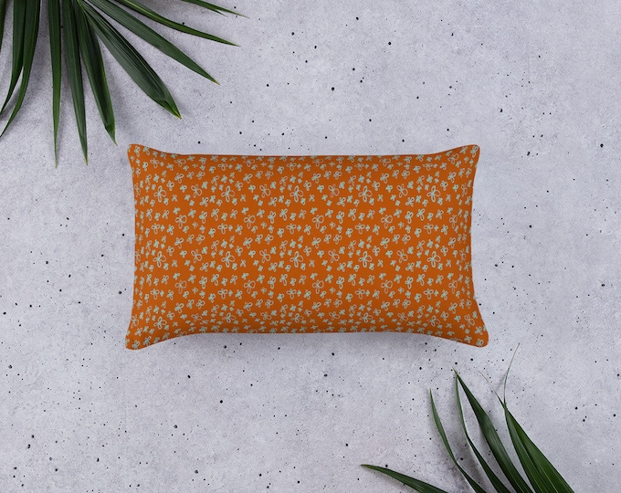 Rust orange floral Pillow, floral pattern, original design