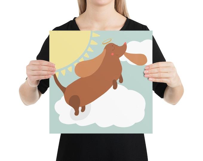 Wienerdog Poster, angel dachshund, original artwork