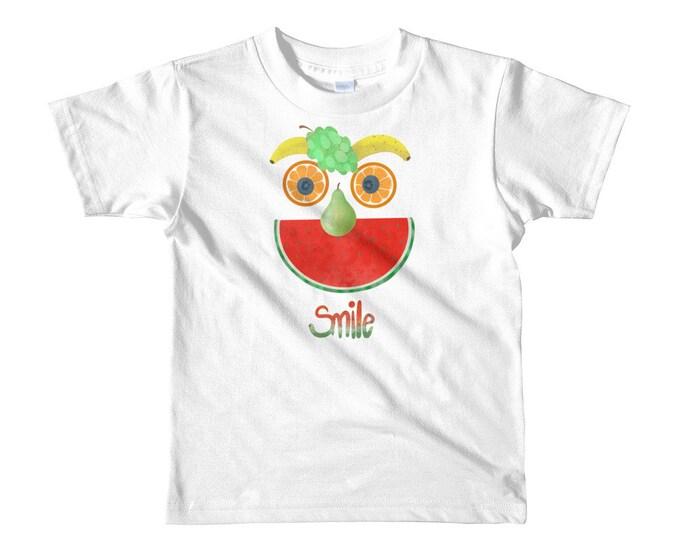 kids t-shirt, silly fruit face, smile,  original art
