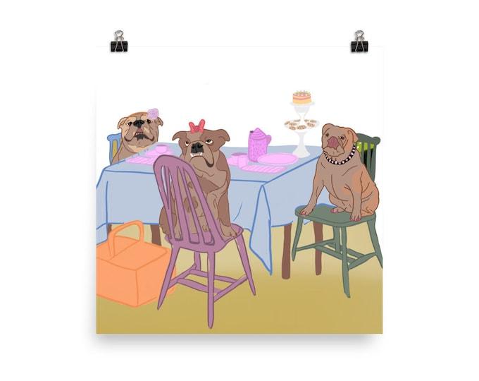 English bulldog Poster, teaparty, original artwork
