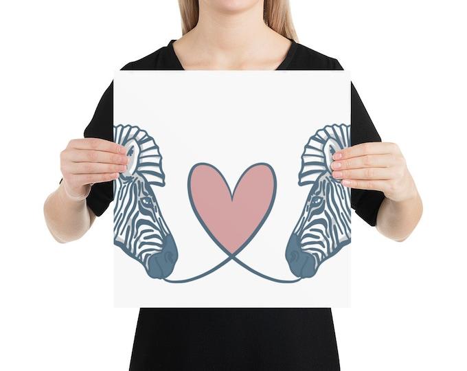 Zebra Poster, with heart, original artwork