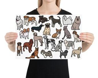Dog breed Poster, original artwork.