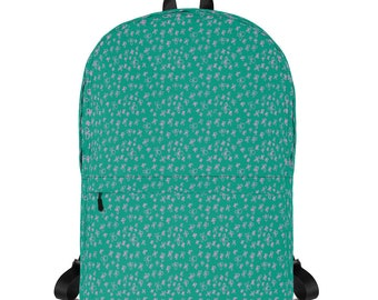 Teal Backpack, with pink floral pattern, original artwork