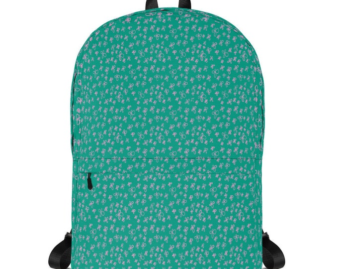 Teal Backpack, with pink floral pattern, original artwork