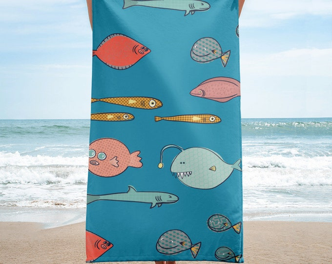 Fish Towel, fun fish towel, original artwork