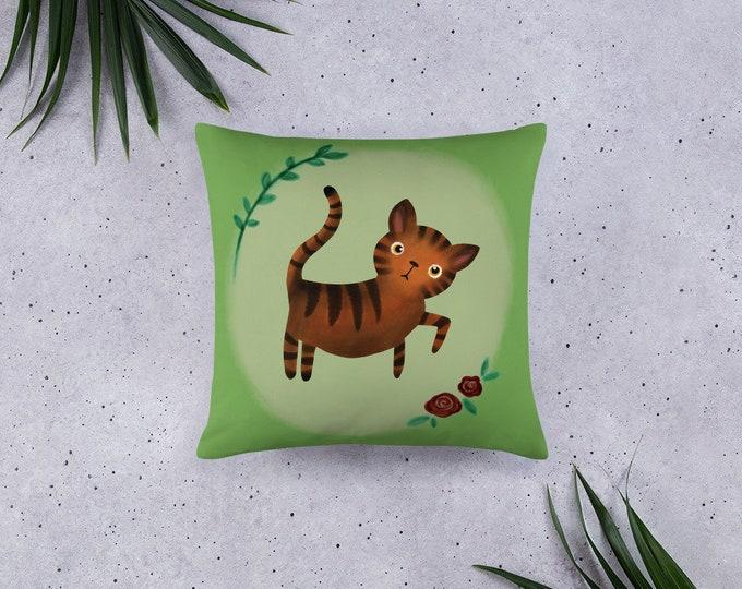 Tiger Pillow, kidsroom decor, original artwork