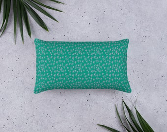 Teal Pillow with pink floral pattern, original design