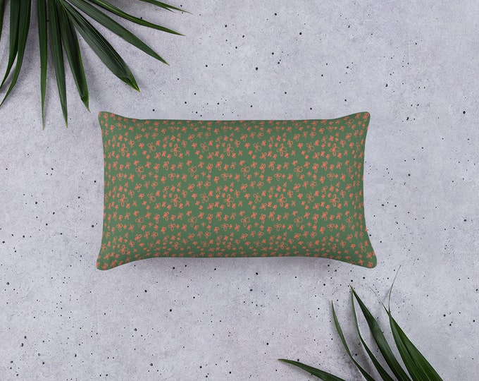 Forrest green Pillow, with pink flower pattern, original artwork