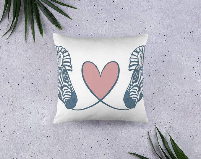 Zebra Pillow, zebras with heart, original artwork