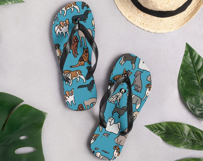 Blue Flip-Flops, with dog pattern original artwork