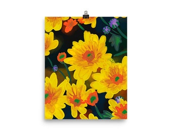 chrysanthemum  Poster, yellow flowers, original artwork