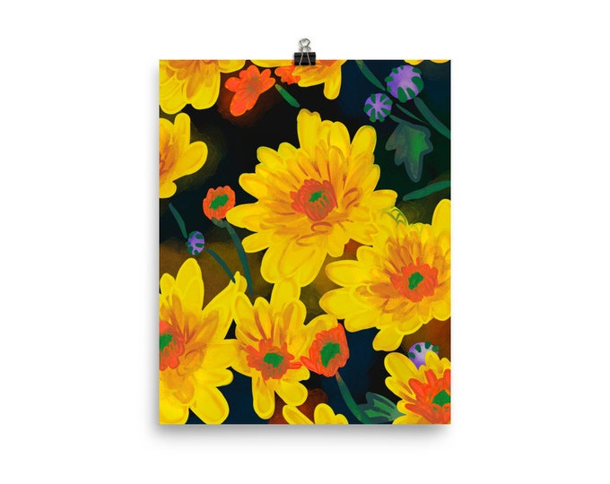 chrysanthemum  Poster, yellow flowers, original artwork