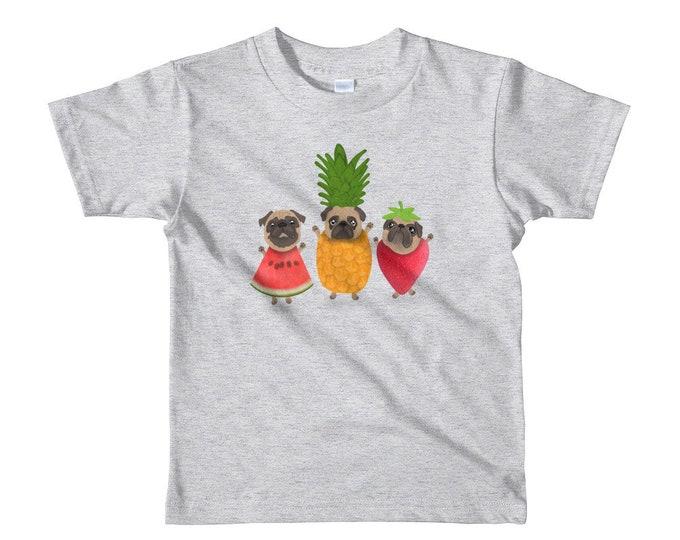 Pug Short sleeve kids t-shirt, fun fruitypugs, summer tee, original artwork
