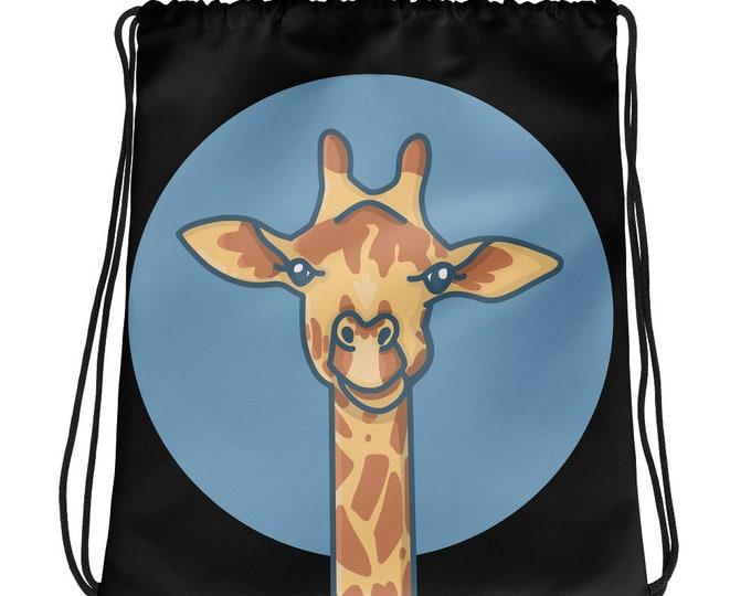 Giraffe Drawstring bag, black bag, with a giraffe, original artwork