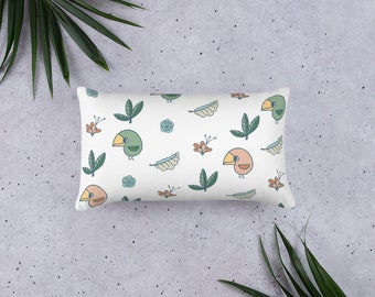 Summer Pillow, with bird and plants, original artwork
