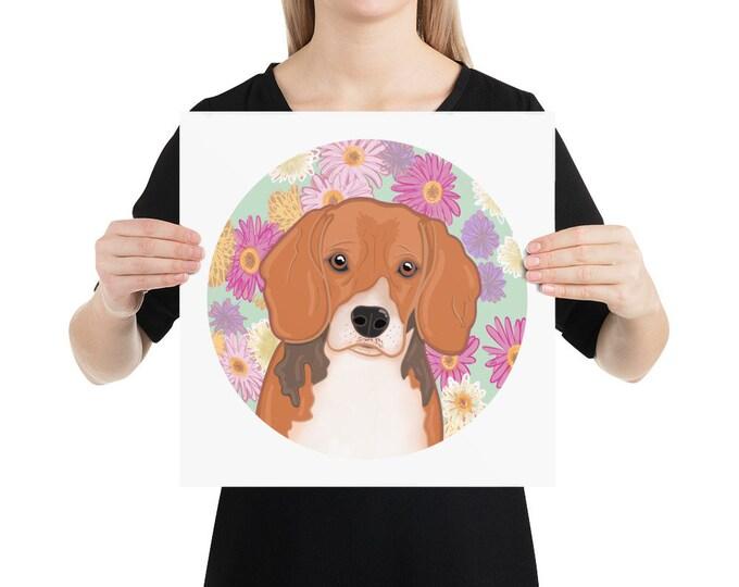Beagle Poster, dog with floral background, original artwork