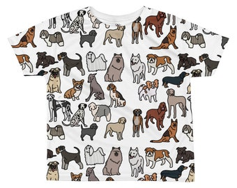Dog kids T-shirt, all over print, White background, original artwork