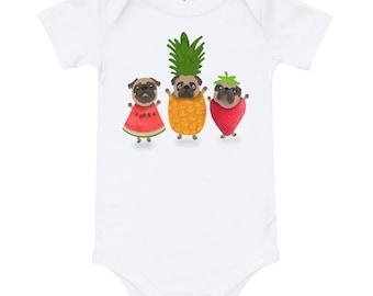 Pug bodysuit, baby onesie with fruity pugs, original artwork