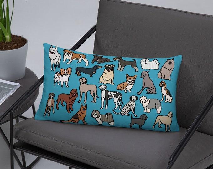 Dog Pillow, dog breeds, original artwork