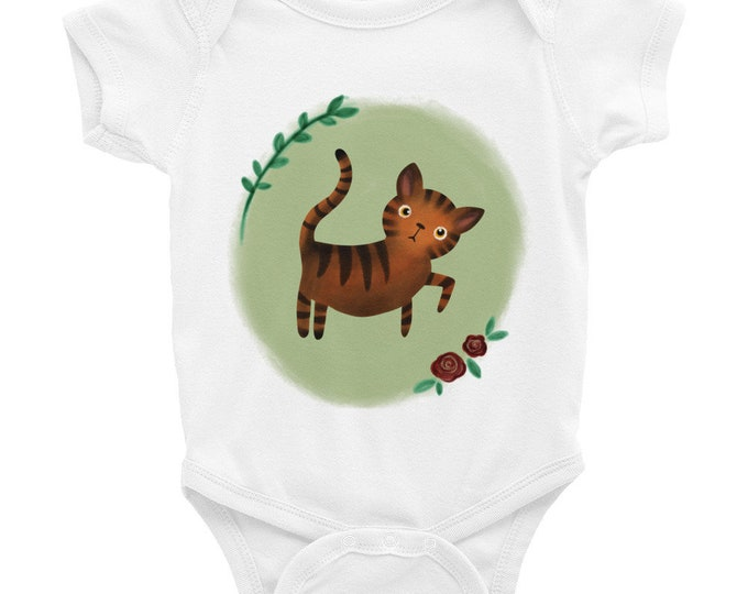 Tiger baby Bodysuit, with tiger cat, original artwork