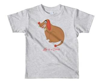 Circus kids t-shirt, clown dog, life is a Circus, original artwork