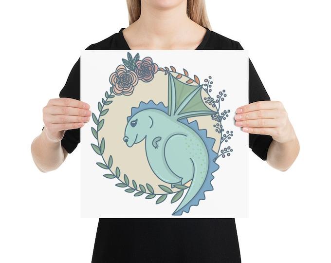 Dragon Poster, blue dragon nursery art, original artwork